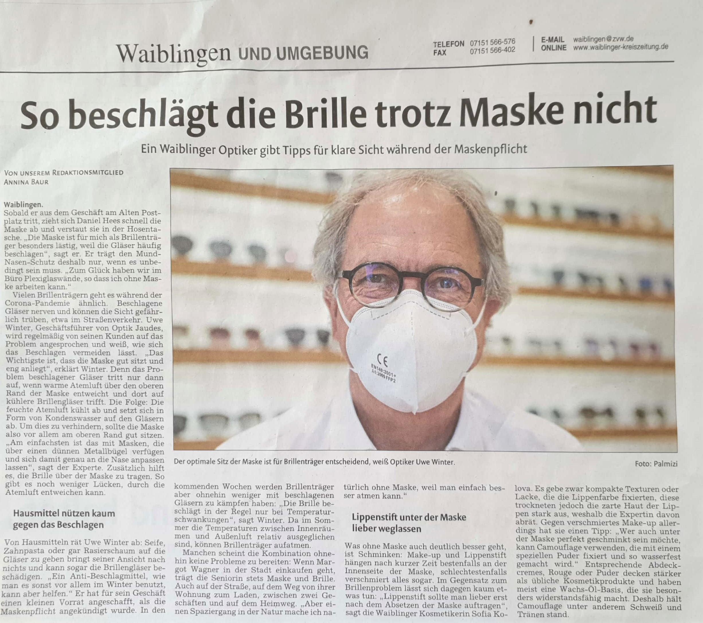 Crona, beschlagene Brille, Maske, Mund-Nasenschutz